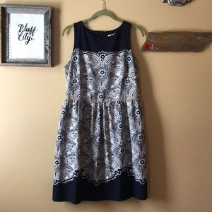 LOFT Navy and gray paisley dress